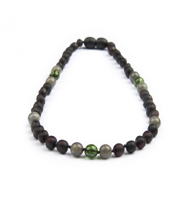 Amber teething necklace - Gemstone - Labradorite and Peridot