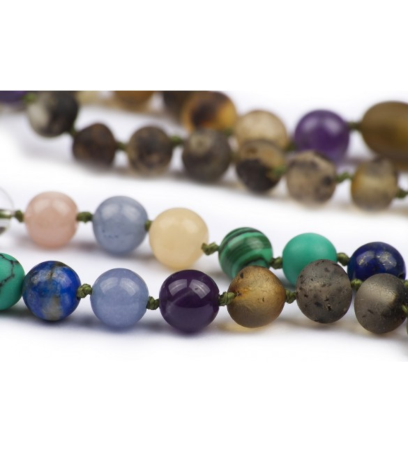 Amber teething necklace - Gemstone - Green color