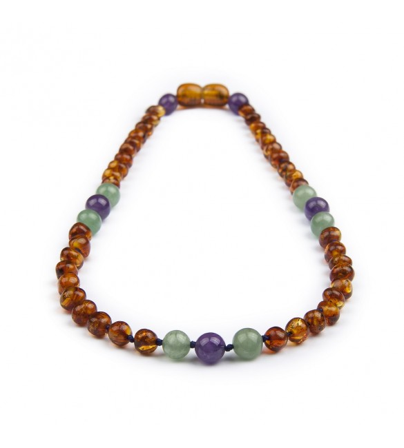 Amber teething necklace - Gemstone - Aventurine - Amethyst