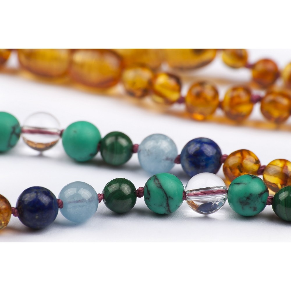 Amber Teething Necklace Gemstone Honey Color