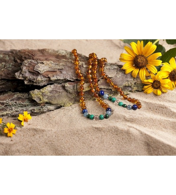 Amber teething necklace - Gemstone - Honey color