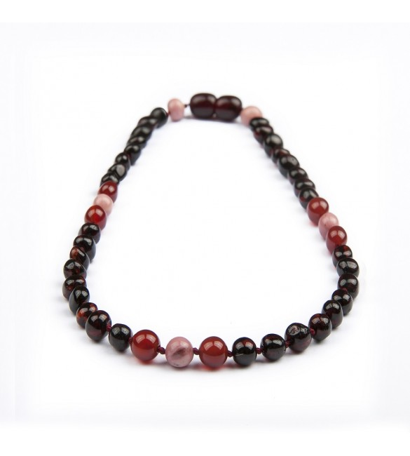 Amber teething necklace - Gemstone - Red Agate