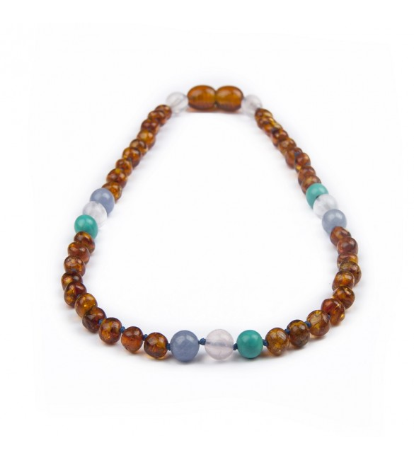 Amber teething necklace - Gemstone - Aquamarine