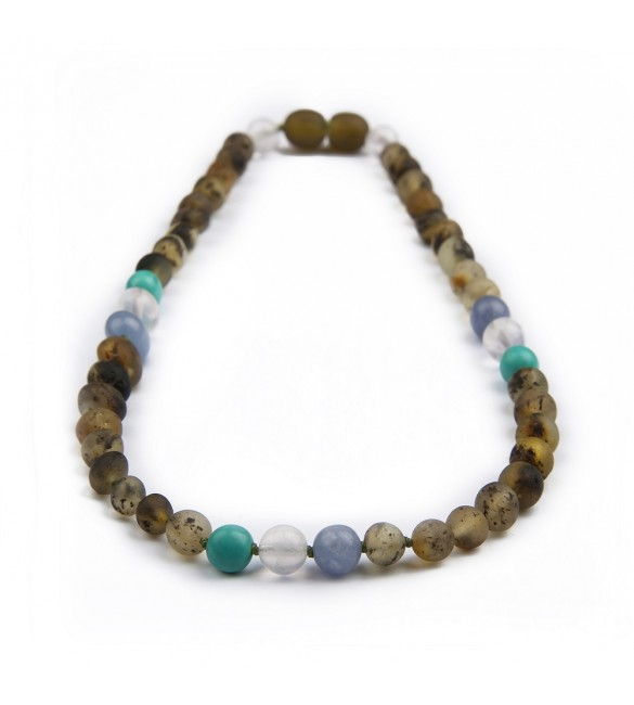 Amber teething necklace - Gemstone - Turquoise - Aquamarine - Quartz