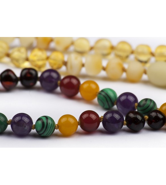 Amber teething necklace for baby - Gemstones - Rainbow