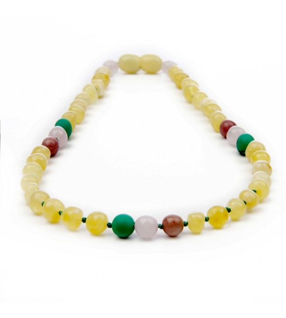 Amber teething necklace - Gemstone - quartz rose mix