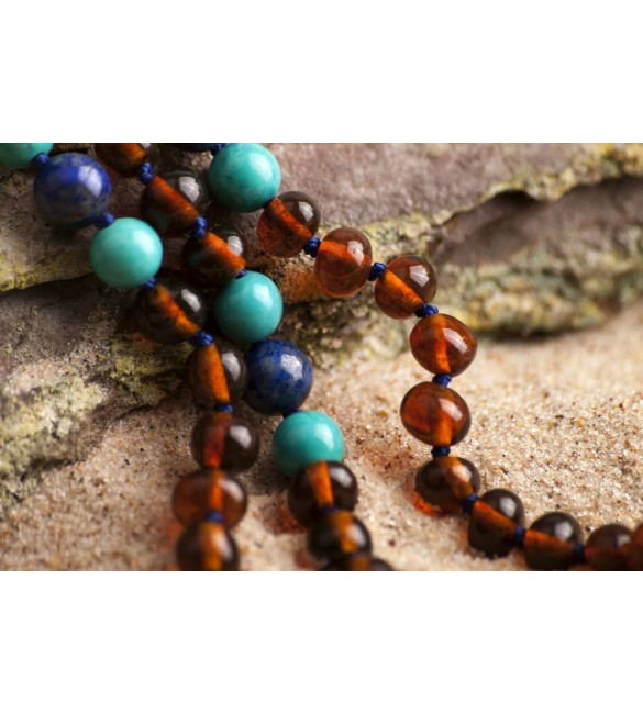 Amber teething necklace - Gemstone - Polished cognac