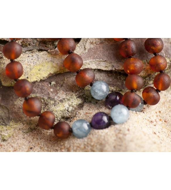 Amber teething bracelet - Gemstone - aquamarine - amethyst