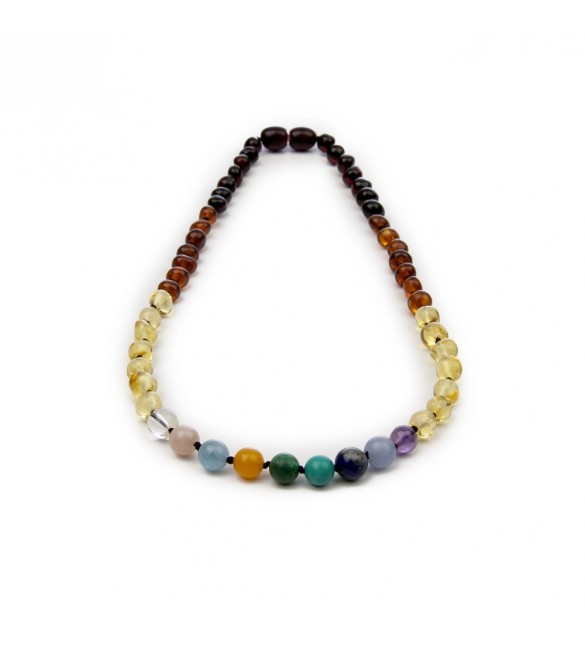 Amber teething necklace - Gemstone - White quartz