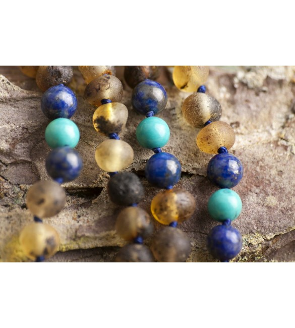 Amber teething necklace - Gemstone - raw green amber