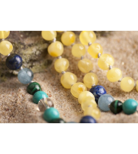 Amber teething necklace - Gemstone - quartz