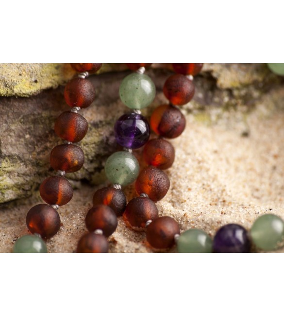 Amber teething necklace - Gemstone - raw cognac