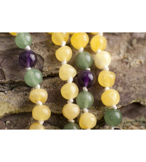 Amber teething necklace - Gemstone - polished milky amber