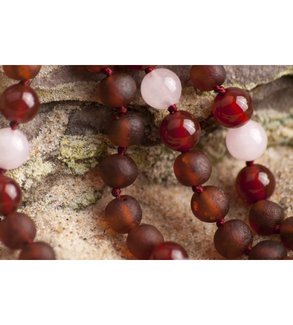 Amber teething necklace - Gemstone - red