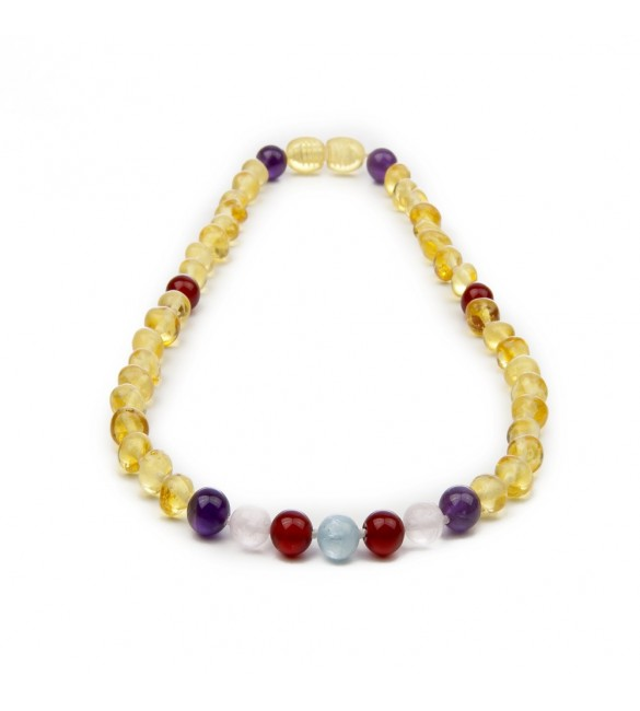 Amber teething necklace - Gemstone - polished lemon - quartz rose