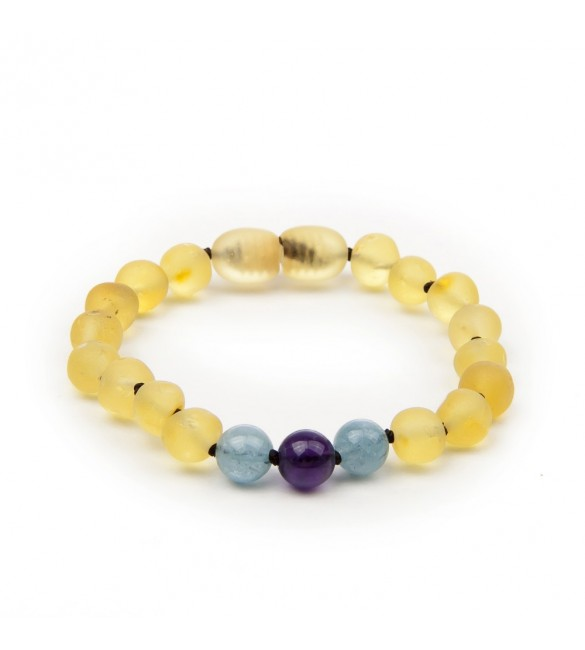 Amber teething bracelet - Gemstone - blue