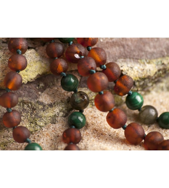 Amber teething necklace - Gemstone - Labradorite