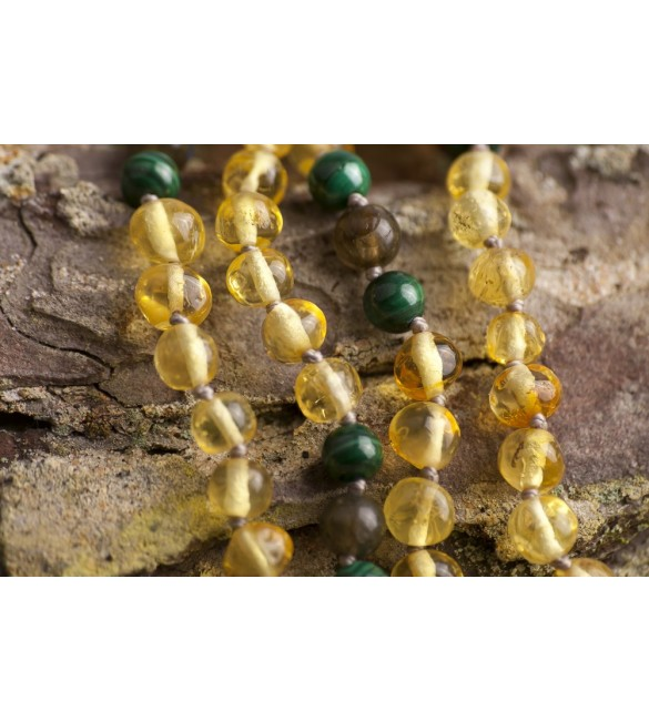 Amber teething necklace - Gemstone - Malachite
