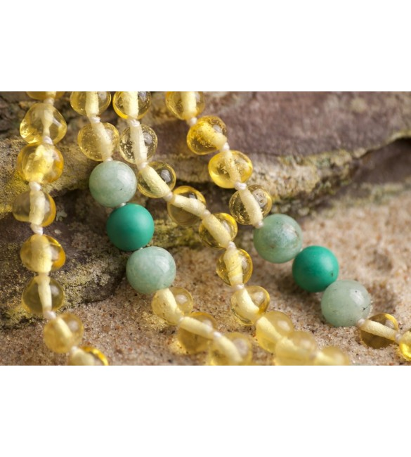 Amber teething necklace - Gemstone - Turquoise gemstones