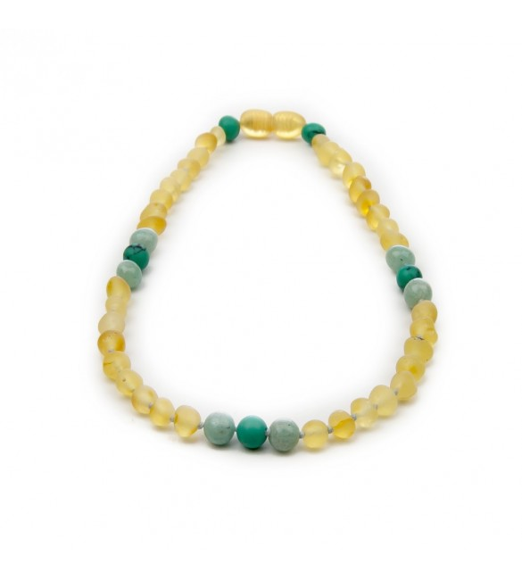 Amber teething necklace - Gemstone - Lemon color