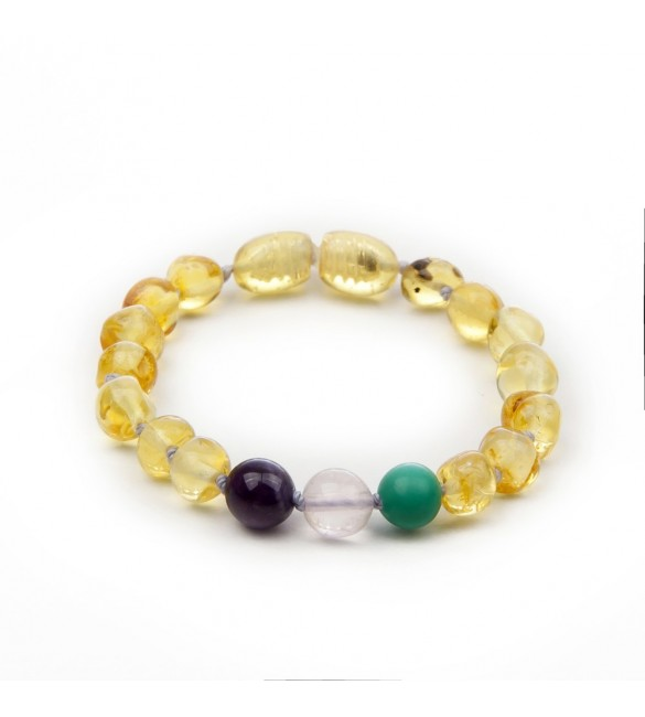Amber baby teething bracelet - Gemstone - Amber for teething