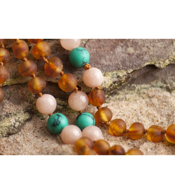 Amber teething necklace - Gemstone - Raw honey baroque