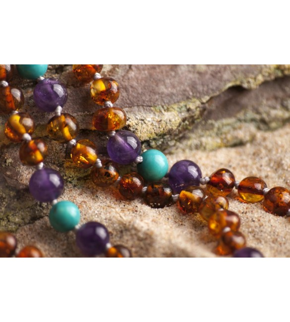 Amber teething necklace Gemstone Polished cognac