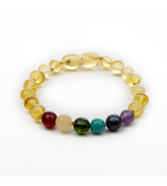 Amber teething bracelet - Gemstone- Amber with Gemstones