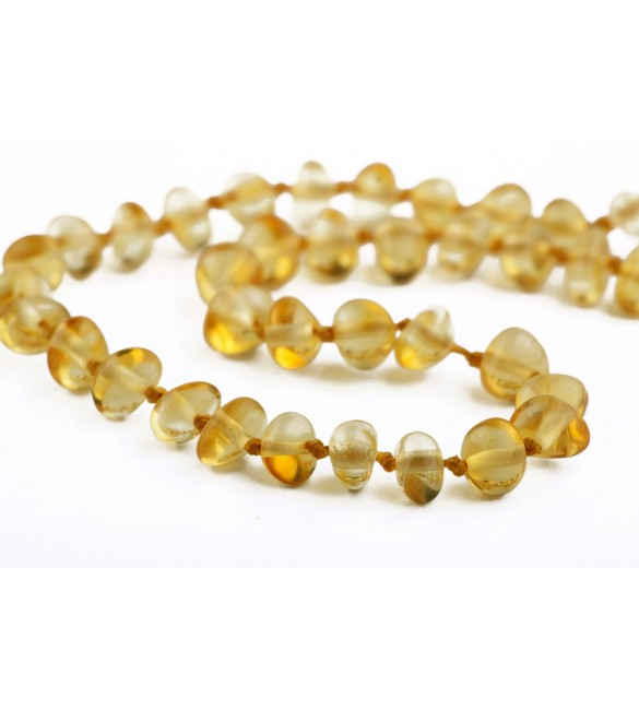 Amber baby necklace Baroque Polished Lemon
