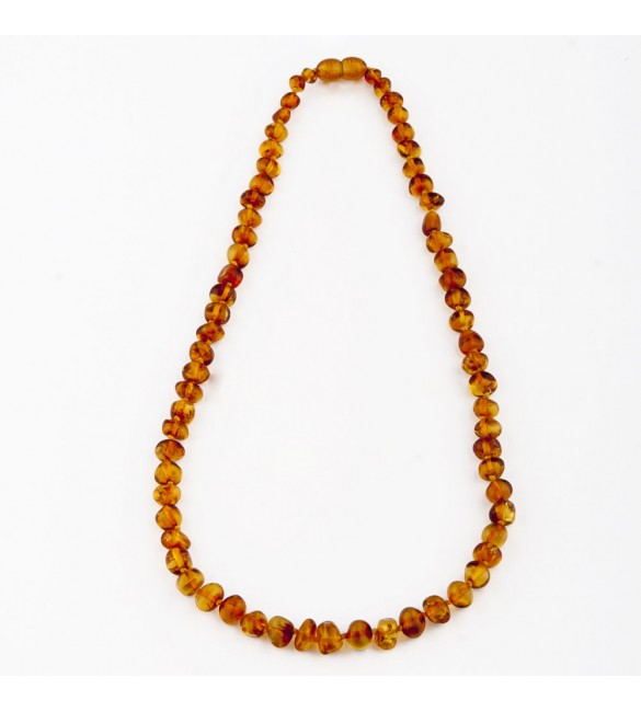 Amber baby necklace Baroque Polished Cognac