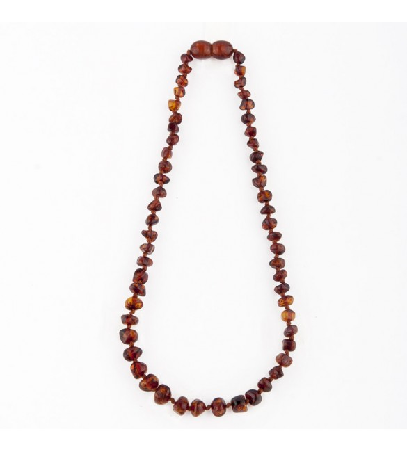 Amber baby necklace Baroque Polished Dark Cognac