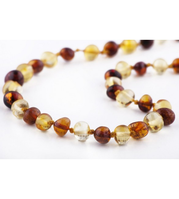 Amber baby necklace Baroque Polished 1x1 Honey-Lemon