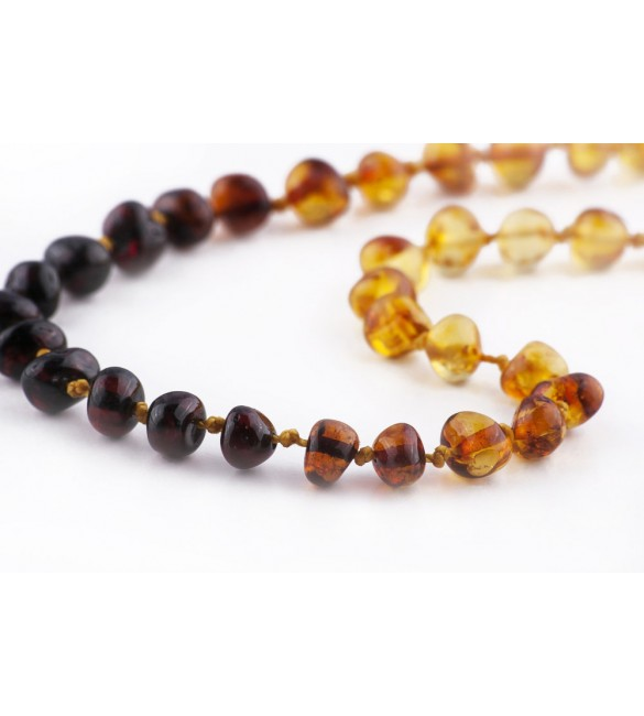 Amber baby necklace Baroque Polished Rainbow