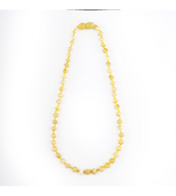 Amber baby necklace Baroque Polished Milky