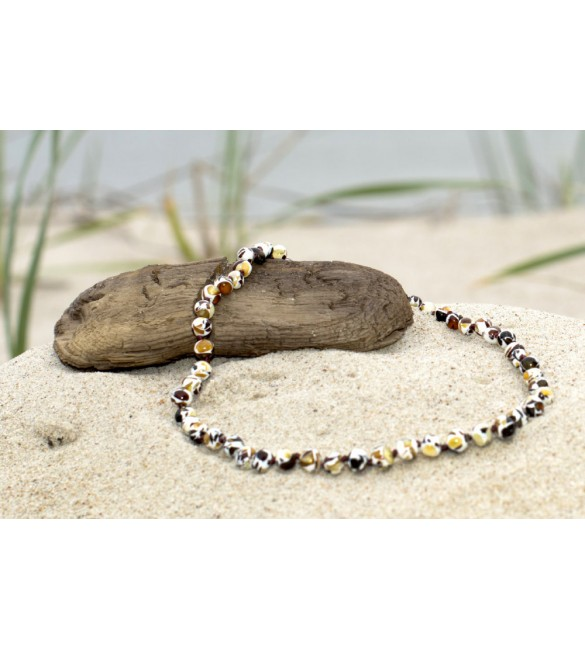Amber baby necklace Baroque Polished Mosaic