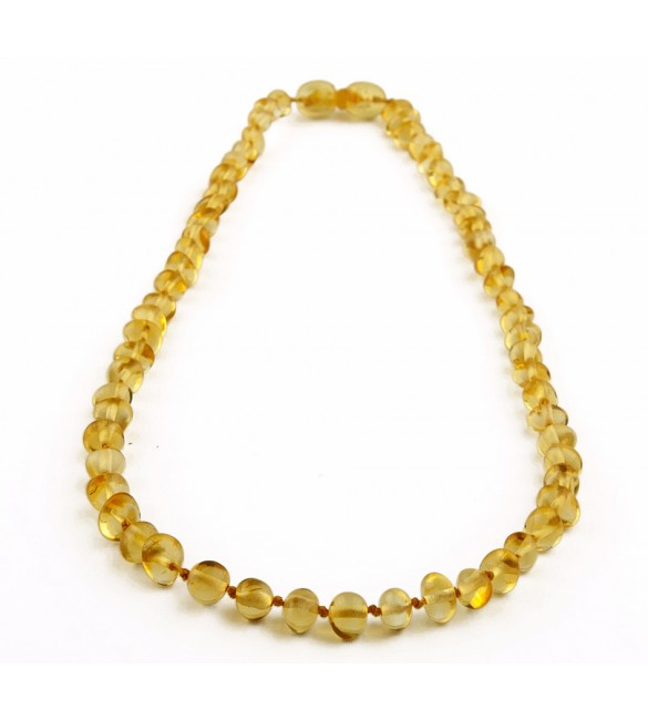 Amber Adult necklace Baroque Polished Lemon