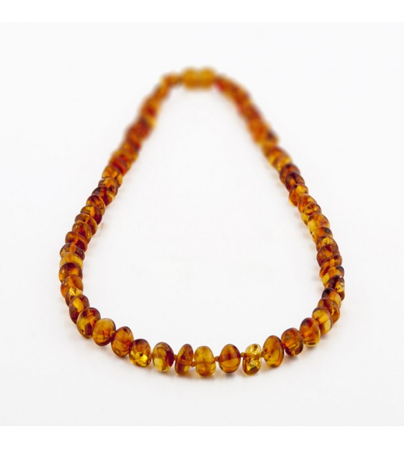 Amber Adult necklace Baroque Polished Cognac