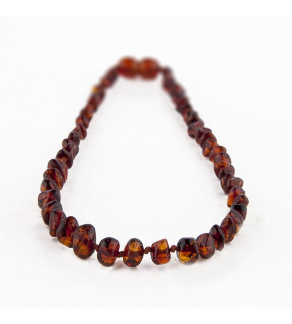 Amber Adult necklace Baroque Polished Dark Cognac