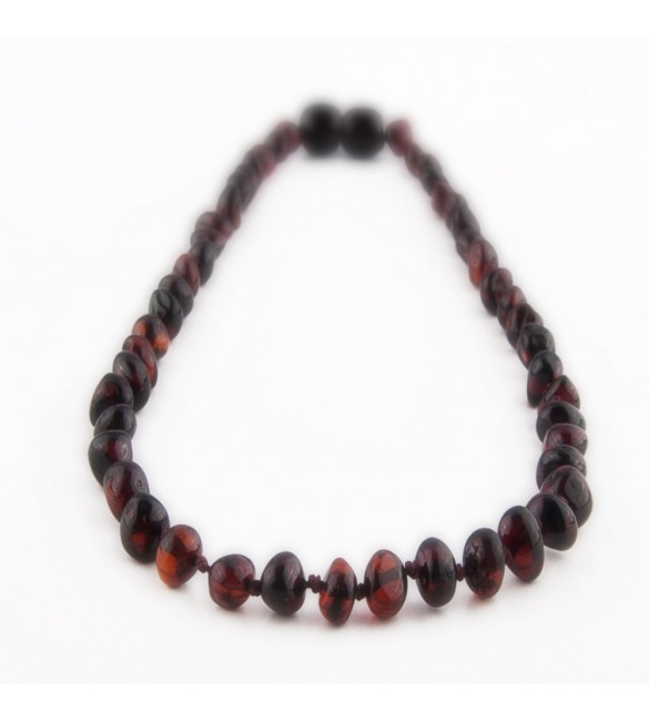 Amber Adult necklace Baroque Polished Cherry