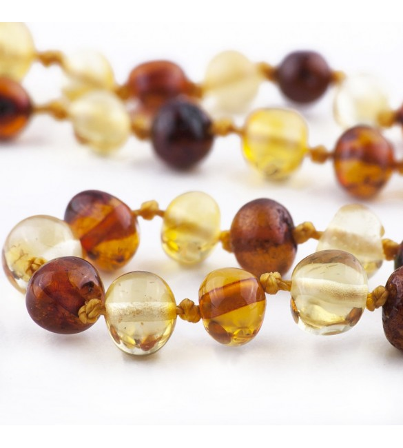 Amber Adult necklace Baroque Polished 1x1 Honey-Lemon