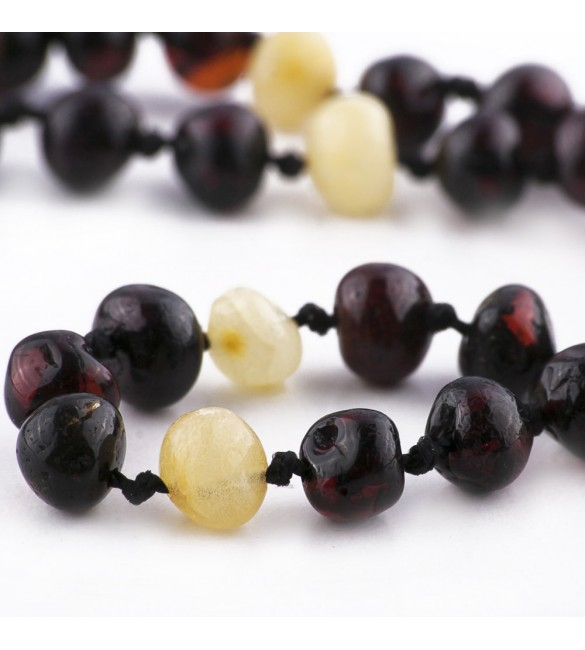 Amber Adult necklace Baroque Polished 3 Cherry-Lemon