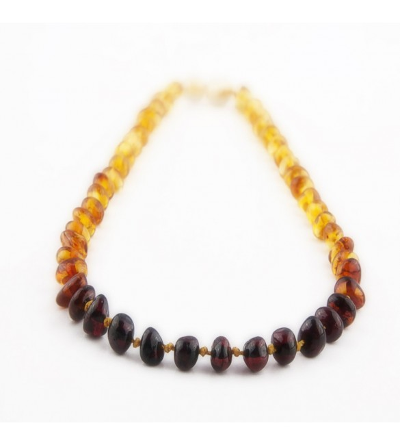 Amber Adult necklace Baroque Polished Rainbow