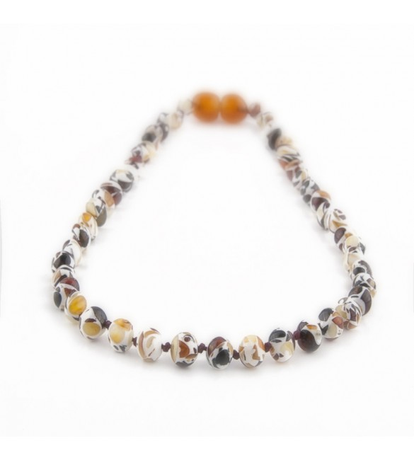Amber Adult necklace Baroque Polished Mosaic