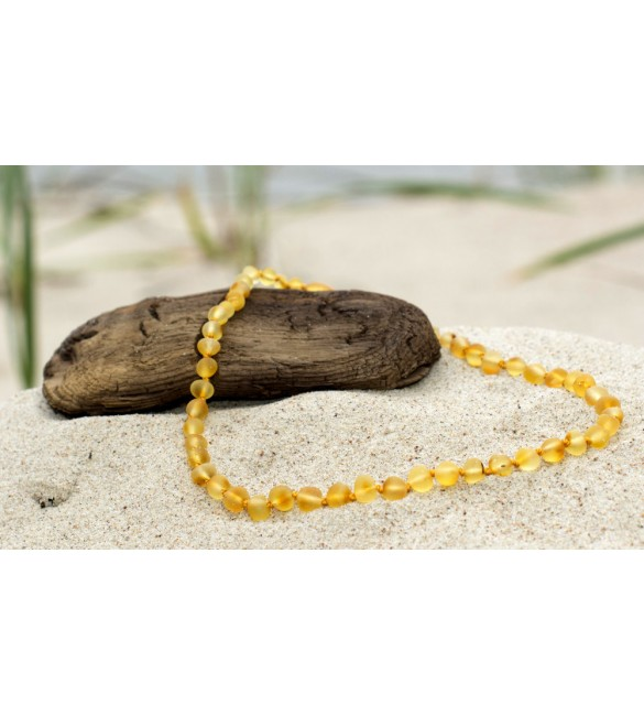 Amber baby necklace Baroque Raw Lemon