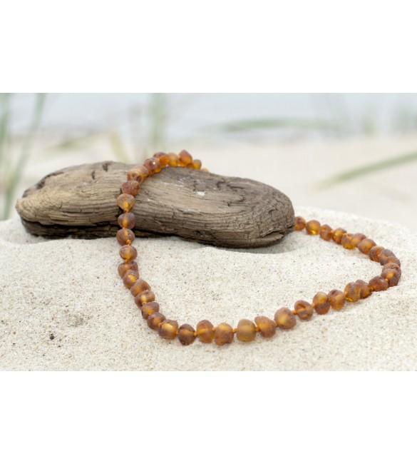 Amber baby necklace Baroque Raw Cognac