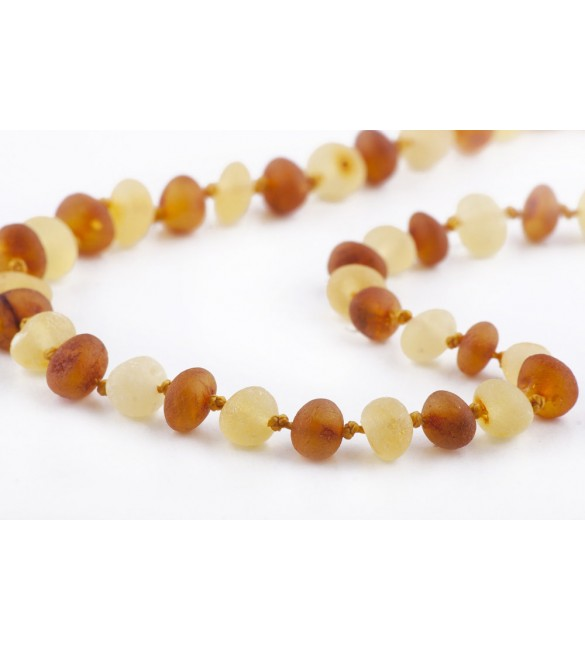 Amber baby necklace Baroque Raw 1x1 Honey-Lemon