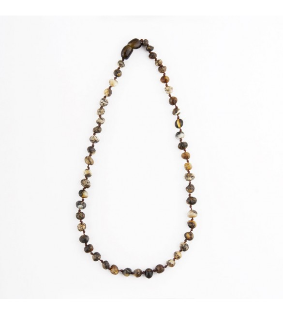 Amber baby necklace Baroque Raw Green