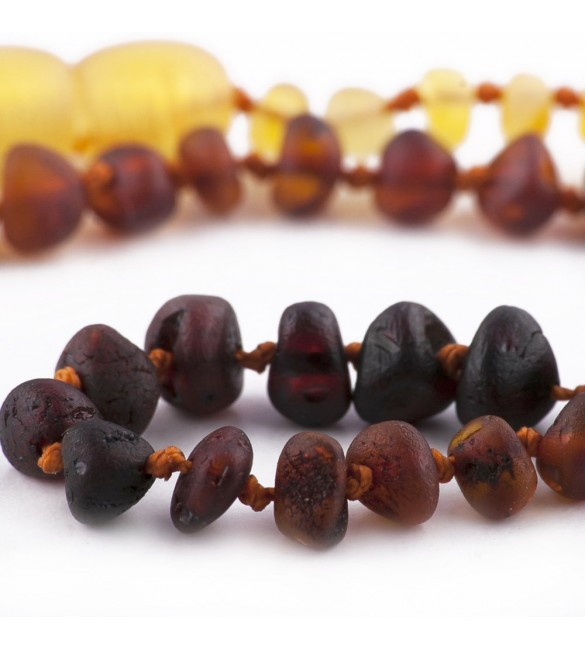 Amber Adult necklace Baroque Raw Rainbow