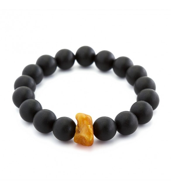 Luxury Black Amber Round bracelet for HIM