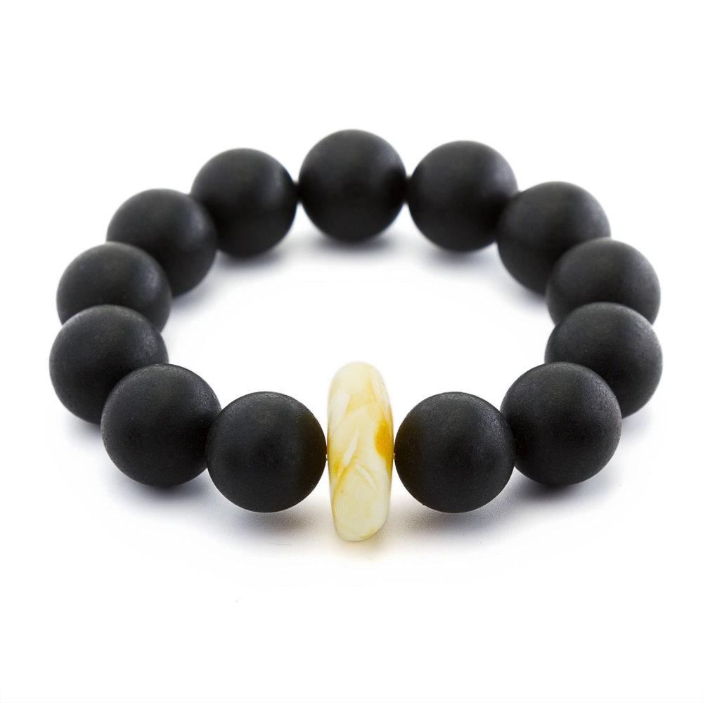luxury black amber round bracelet for her. Black Bedroom Furniture Sets. Home Design Ideas